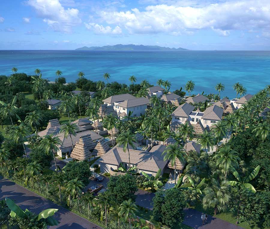 aerial view of nanuku beachfront villas